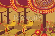 Link toThe fairy tale world of big bird and tree vector
