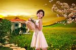 Link toThe garden is bursting with spring vegetation villa advertising psd
