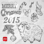 Link toThe goat christmas elements vector