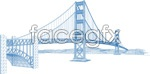 Link toThe golden gate bridge in a line graph vector