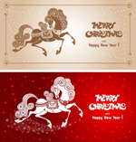 Link toThe horse cartoon cards vector