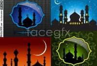 Link toThe muslim architectural silhouettes vector