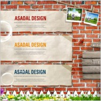 Link toThe nostalgic brick wall background signs psd