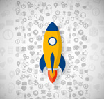 The rocket business icons vector