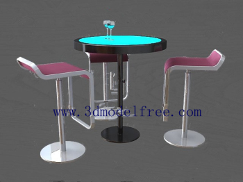 Link toThe tall bar class tables and chairs combination model 3d model