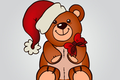 The teddy bear wearing christmas hats vector
