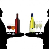 Link toThe waiter holding drinks silhouette vector