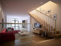 Link toThe warm colors penthouse living room model