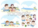 Link toThe whole family went to the beach vector