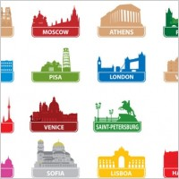 Link toThe worldfamous city building silhouette 01 vector