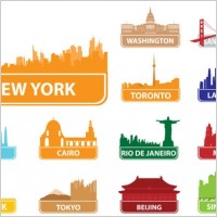 Link toThe worldfamous city building silhouette 02 vector