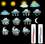 Thermometers and weather icons vector