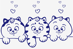 Link toThree blue cute cat vector