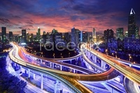 Three-dimensional city downtown overpass hd pictures