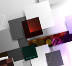 Three dimensional vision square background vector