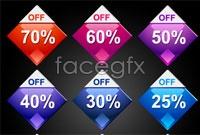 Link toThree discount label icons vector
