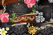 Link toThree flower cards vector
