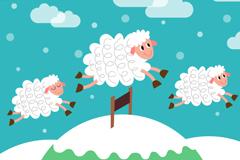 Link toThree jumping sheep cartoon vector