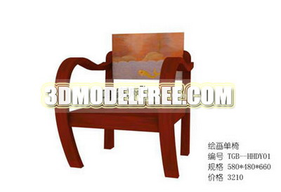 Link toThree-seat sofa-bed tv cabinet furniture, wood chair 3d model