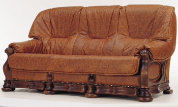 Link toThree seats leather brown sofa 3d model