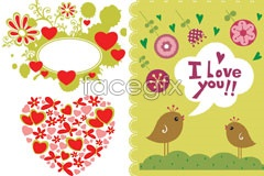 Link toThree valentine's day cartoon pattern eps vector