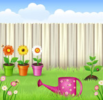 Through private gardens vector
