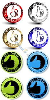 Link toThumbs up quality labels vector