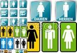 Link toToilet for men and women identified vector