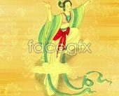 Traditional chinese calligraphy and painting beautiful women psd