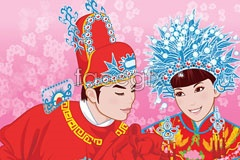 Link toTraditional chinese clothing newlyweds vector