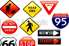 Link toTraffic safety signs on a variety of vector