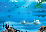 Link toTranquil lakeside scenery psd