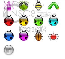 Transparent bright! insects icons