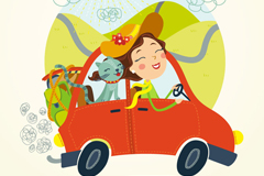 Travel by car the woman and cat vector