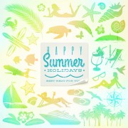Link toTravel elements with summer holiday background free