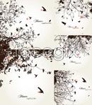 Link toTree branch bird silhouettes vector