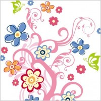 Link toTree with flowers vector graphic