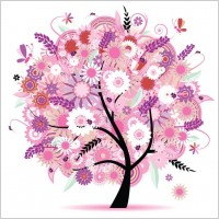 Link toTree with flowers vector illustration