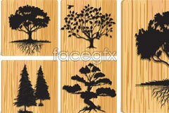 Link tovector silhouette set background grain wood a of Trees