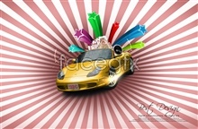 Link toTrend pattern sports car advertisement design templates psd