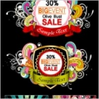 Trend pattern vector 2 ribbon tag sales