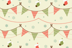 Link toTriangular flag with christmas stockings background vector