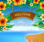 Link toTropical flower holiday posters vector