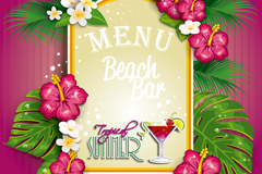 Link toTropical flowers decorate the wine list vector