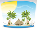 Link toTropical island cartoon backgrounds vector