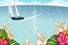 Link toTropical island scenery of cartoon vector