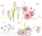 Tulip tree peony roses vector