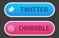 Link toTwitter and dribbble buttons psd