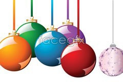 Link toTwo beautiful christmas hanging ball eps vector