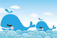 Link toTwo blue whale cartoon vector